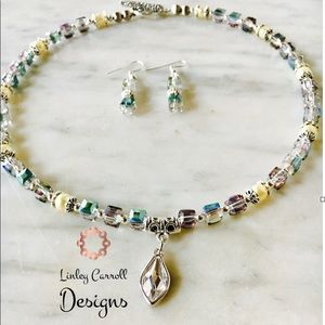 Jewelry - Peacock Austrian Crystal Necklace & Earring Set